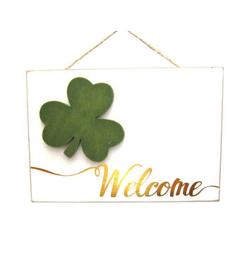St. Patrick's Day Shamrock Welcome Wall Decor-White