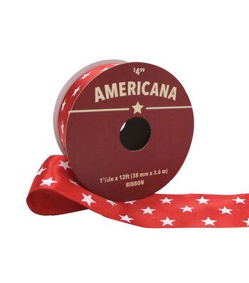 "Americana Ribbon 1.5""x12'-White Stars on Red"