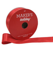 Maker's Holiday Christmas Satin Ribbon 1.5''x30'-Red, , hi-res