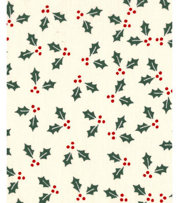 Holiday Showcase™ Christmas Cotton Fabric 43''-Holly Leaves on Ivory