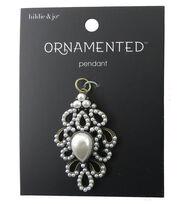 hildie & jo™ Ornamented 1.88''x0.63'' Antique Gold Pendant-Pearls, , hi-res