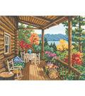 Log Cabin Covered Porch Counted Cross Stitch Kit-16\u0022X12\u0022 14 Count