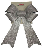 Maker's Holiday Christmas 9''x14'' Glitter Bow-Silver, , hi-res