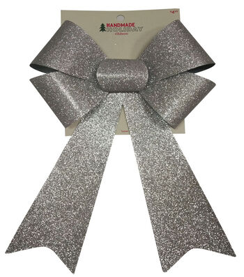 Maker's Holiday Christmas 9''x14'' Glitter Bow-Silver