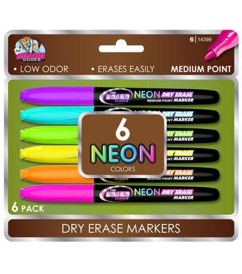 6ct Neon Dry Erase Marker Set