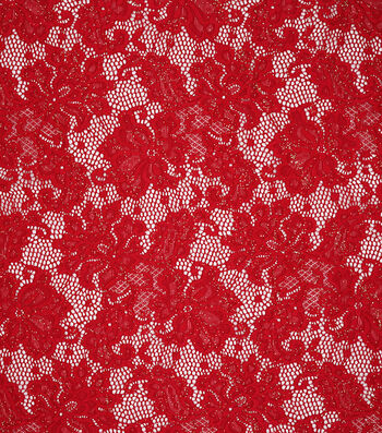 "Sew Sweet Glitter Floral Net Lace Fabric 57""-Red"
