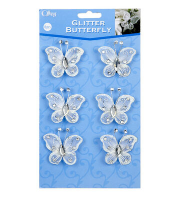 Offray® 6ct Rhinestone Studded Butterflies-White