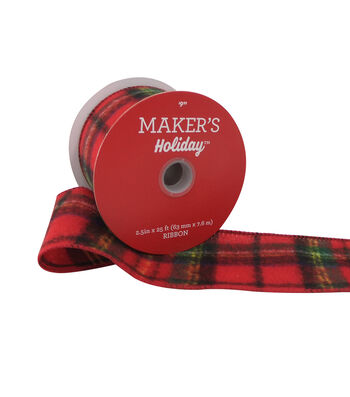 Maker's Holiday Flannel Ribbon 2.5''x25'-Red, Black & Yellow Plaid