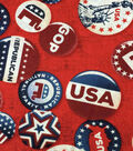 Patriotic Fabric-Republican Buttons Red