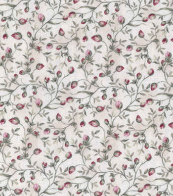 Vintage Cotton Fabric 43''-Budding Vines on Ivory