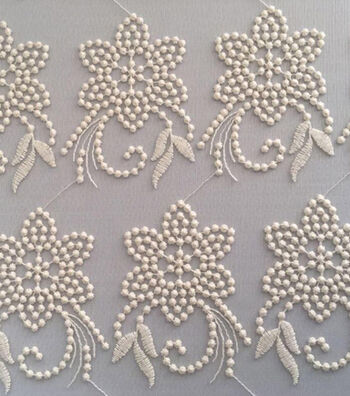 """Spring Sheen Mesh Embroidery Fabric 55""""-Ivory"""