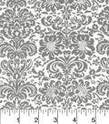 Snuggle Flannel Fabric 42\u0022-Gray Damask On White