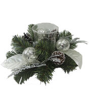 Blooming Holiday 14'' Leaves Cedar & Pine Candle Holder-Silver, , hi-res