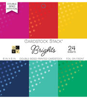 DCWV 24 Pack 6''x6'' Double-Sided Foil Printed Cardstock Stack-Brights, , hi-res