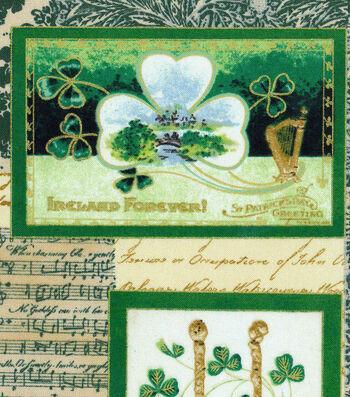 St. Patrick's Day Fabric 43''-Vintage Irish Block