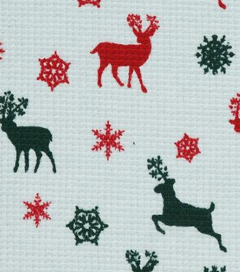 "Doodles Christmas Interlock Cotton Fabric 58""-Raindeer Waffle"