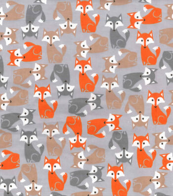 "Snuggle Flannel Fabric 42""-Pretty Foxes Gray"