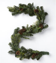 Blooming Holiday Christmas 66'' Pinecone & Mixed Greenery Garland-Green, , hi-res