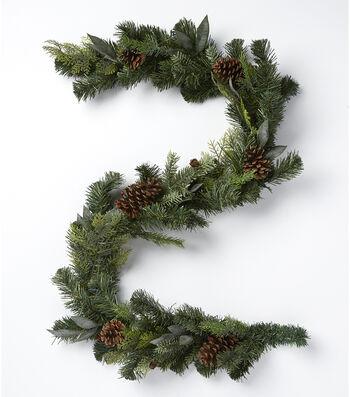 Blooming Holiday Christmas 66'' Pinecone & Mixed Greenery Garland-Green