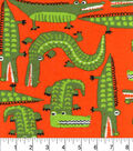 Snuggle Flannel Fabric 42\u0022-Alligators On Orange