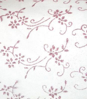 Glitterbug Princess Floral Sheer Glitter Fabric-Light Pink??