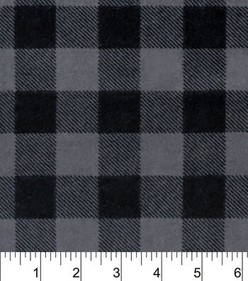 "Snuggle Flannel Fabric 42""-Black Grey Buffalo Check"