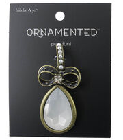 hildie & jo™ Ornamented Bow Antique Gold Pendant-Pearls & Crystals, , hi-res