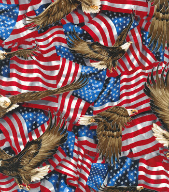 Patriotic Cotton Fabric 44''-American Eagles