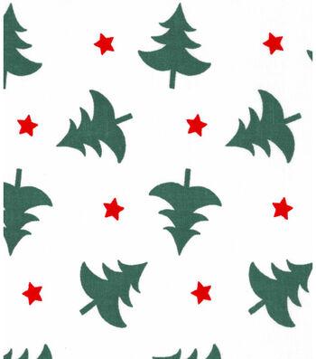 Christmas Cotton Fabric 43''-Christmas Trees & Stars on White