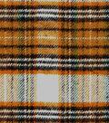 Plaid Brush Cotton Fabric 44\u0022-Black, Orange & Gold