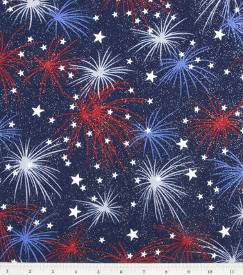 """Holiday Cotton Fabric 44""""-Fireworks with Stars"""