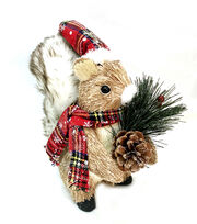 Blooming Holiday Christmas Squirrel with Pinecone, Hat, Scarf & Pine, , hi-res