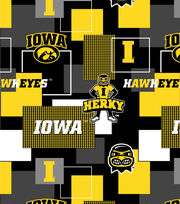 University of Iowa Hawkeyes Herky Cotton Fabric 43''-Modern Block, , hi-res