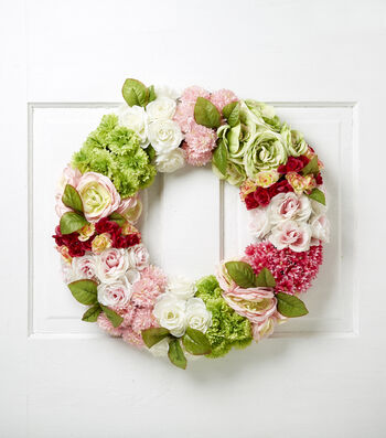 Blooming Spring 22'' All Over Floral Wreath-Pink & Green