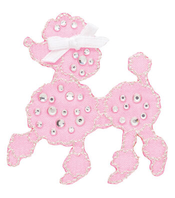 Simplicity® Iron-On Applique-Jeweled Pink Poodle W/Rhinestones