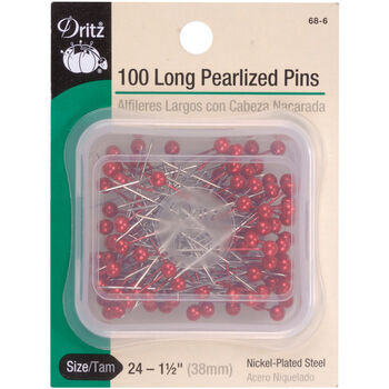 "Dritz 1.5"" Long Pearlized Pins 100pcs Size 24 Red"