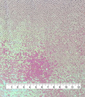 "Reversible Sequin Fabric 53""-Silver Holographic & Iridescent"