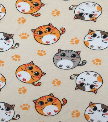 """Doodles® Cotton Fabric 57""""-Rolly Polly Kitty"""