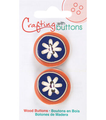 Crafting with Buttons Global Chic 2 pk 1'' Wood Buttons-Morocco Detail