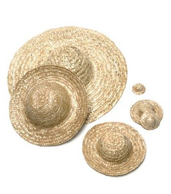 "Round Top Straw Hat 18""-Natural"