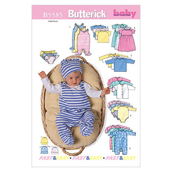Butterick Pattern B5585 Infants' Casual Outfits-Size PRE-NB-S