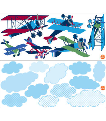 Wall Pops Vintage Planes Wall Art Decal Kit, 18 Piece Set