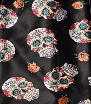 """The Witching Hour Costume Fabric 43""""-Multi Colored Day Of The Dead"""