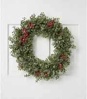 Blooming Holiday Christmas Eucalyptus & Frost Berry Wreath-Green & Red, , hi-res