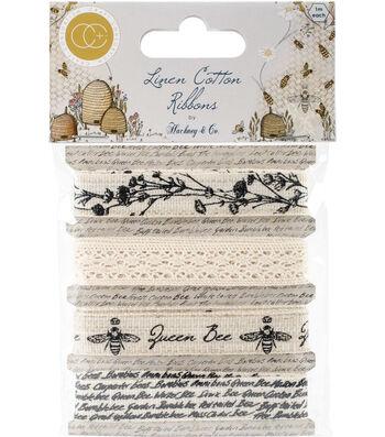 Craft Consortium 4 pk Tell The Bees Ribbon-Cotton & Linen