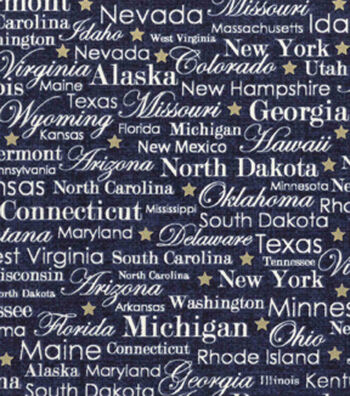 "Patriotic Cotton Fabric 43""-State Names Blue Metallic"