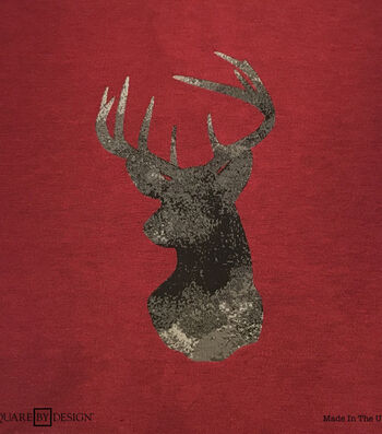 Square By Design® Woven Fabric 25''-Deer Head on Red