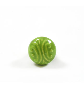 Dritz Home Ceramic Embossed Knob-Green