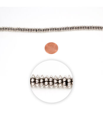 Blue Moon Strung Metal Spacer Beads,Disc,Silver