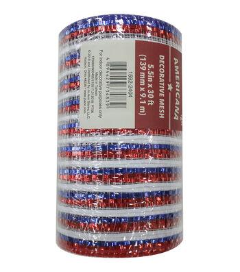 "Americana Decorative Mesh Ribbon 5.5""x30'-Red, White & Blue Thin Stripes"